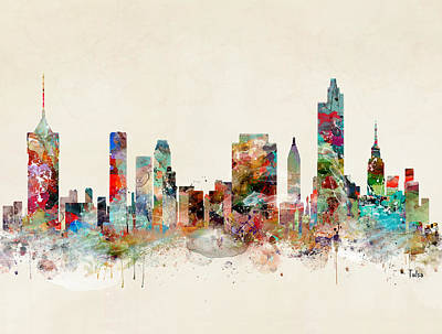 Oklahoma Painting - Tulsa City Skyline by Bleu Bri
