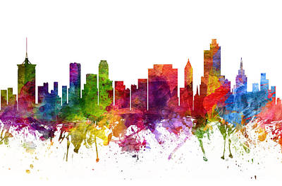 Oklahoma Painting - Tulsa Cityscape 06 by Aged Pixel