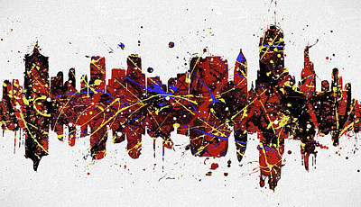 Painting - Tulsa Colorful Skyline by Dan Sproul