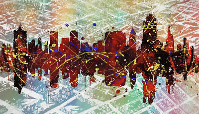 Digital Art - Tulsa Colorful Skyline On Vintage Map by Dan Sproul