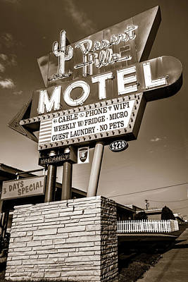 Photograph - Tulsa Desert Hills Motel Route 66 Wall Art - Sepia by Gregory Ballos