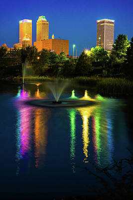 Tulsa Photograph - Tulsa Downtown Skyline - Bold Color by Gregory Ballos