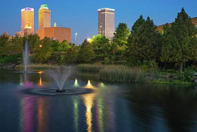 Tulsa Photograph - Tulsa Downtown Skyline Early Morning Reflections by Gregory Ballos
