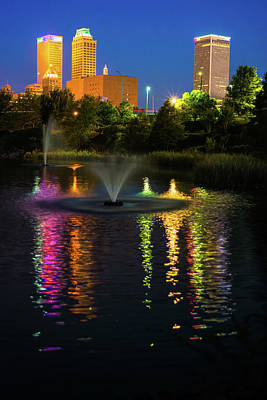 Photograph - Tulsa Downtown Skyline Long Reflections by Gregory Ballos
