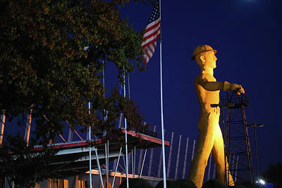 Photograph - Tulsa Driller And American Flag by Gregory Ballos