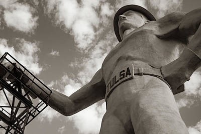 Photograph - Tulsa Driller From Below Sepia Wall Art by Gregory Ballos