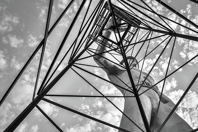 Photograph - Tulsa Driller Low Vantage Point - Black And White by Gregory Ballos