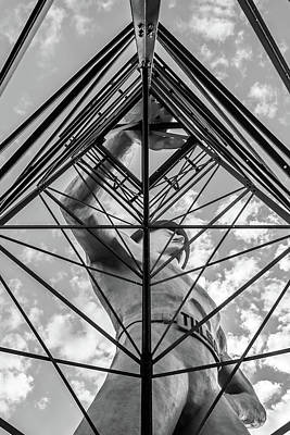 Photograph - Tulsa Driller Man In Black And White - Architectural Cityscape by Gregory Ballos