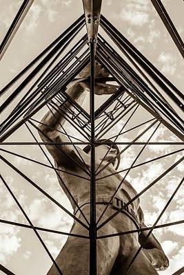 Photograph - Tulsa Driller Man In Sepia - Architectural Cityscape by Gregory Ballos