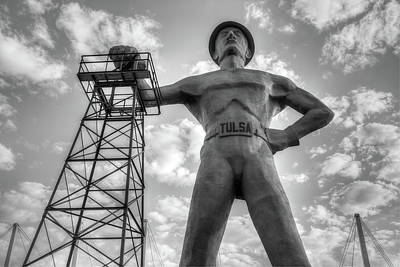 Photograph - Tulsa Driller Tulsa Oklahoma - Black And White by Gregory Ballos