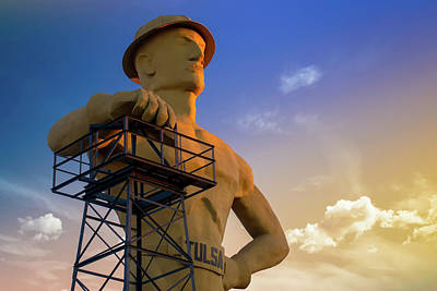 Photograph - Tulsa Driller With Colorful Skies by Gregory Ballos