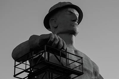 Photograph - Tulsa Golden Driller Close Up - Black And White by Gregory Ballos