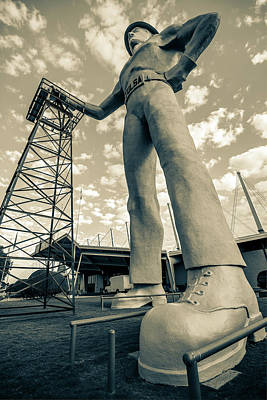 Photograph - Tulsa Golden Driller From Below - Dark Sepia Edition by Gregory Ballos