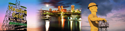 Photograph - Tulsa Meadow Gold Neon - Centennial Skyline - Golden Driller Panorama by Gregory Ballos