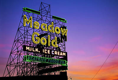 Photograph - Tulsa Meadow Gold Neon - Route 66 Photo Art by Gregory Ballos