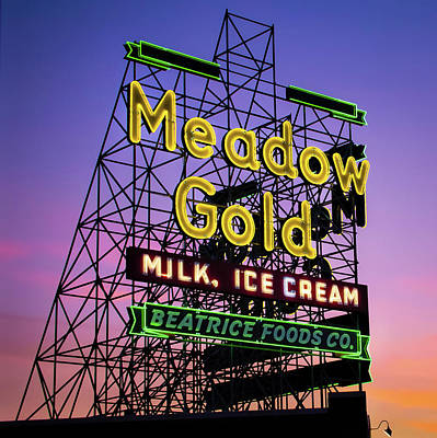 Photograph - Tulsa Neon - Rt 66 Meadow Gold - Square Format by Gregory Ballos