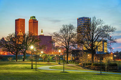 Photograph - Tulsa Night City Skyline - Centennial Park Cityscape by Gregory Ballos