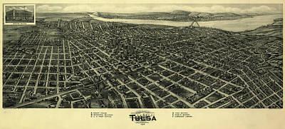 Oklahoma Drawing - Tulsa Oklahoma 1918 by Mountain Dreams