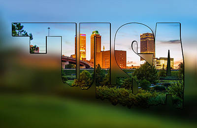 Photograph - Tulsa Oklahoma Blur Typographic Letters - Beautiful Tulsa Oklahoma - Central Park by Gregory Ballos