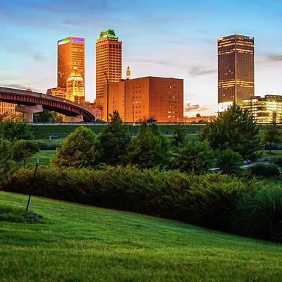 Tulsa Photograph - Tulsa Oklahoma City Skyline At Sunset by Gregory Ballos