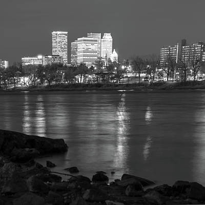 Photograph - Tulsa Oklahoma City Skyline Reflections - Black And White by Gregory Ballos