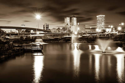 Photograph - Tulsa Oklahoma City Skyline - Sepia Edition by Gregory Ballos