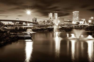Photograph - Tulsa Oklahoma City Skyline - Sepia Edition by Gregory Ballos