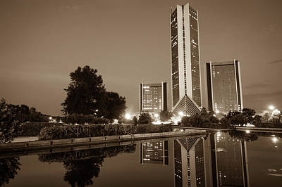 Photograph - Tulsa Oklahoma Cityplex Towers At Dusk - Sepia Edition by Gregory Ballos