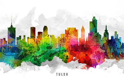 Oklahoma Painting - Tulsa Oklahoma Cityscape 12 by Aged Pixel