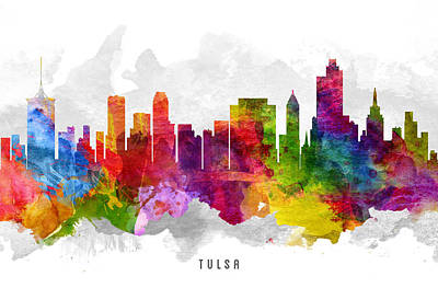 Towns Digital Art - Tulsa Oklahoma Cityscape 13 by Aged Pixel