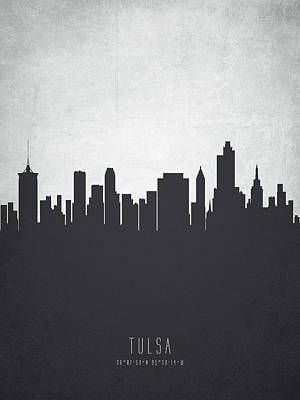Towns Digital Art - Tulsa Oklahoma Cityscape 19 by Aged Pixel