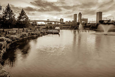 Photograph - Tulsa Oklahoma Cityscape Skyline - Sepia by Gregory Ballos