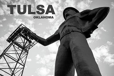 Photograph - Tulsa Oklahoma Golden Driller Fine Art - Black And White by Gregory Ballos
