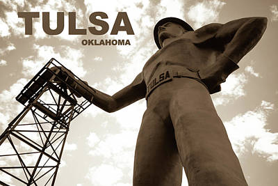 Photograph - Tulsa Oklahoma Golden Driller Fine Art - Sepia by Gregory Ballos