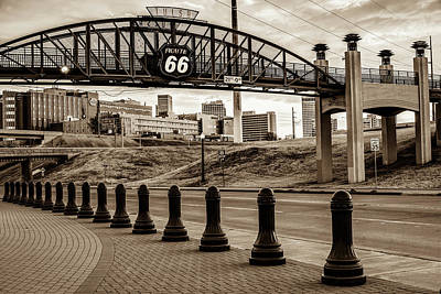 Photograph - Tulsa Oklahoma Historic Route 66 Bridge - Sepia Edition by Gregory Ballos