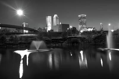 Tulsa Oklahoma Night City Skyline Reflections - Black And White Art Print