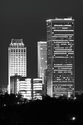 Photograph - Tulsa Oklahoma Night Cityscape Black And White by Gregory Ballos