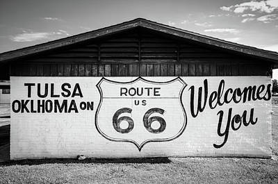Photograph - Tulsa Oklahoma On Us Route 66 Welcomes You - Black And White by Gregory Ballos