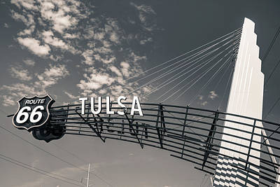 Photograph - Tulsa Oklahoma Route 66 Sign - Black And White by Gregory Ballos