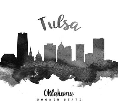 Down Town Painting - Tulsa Oklahoma Skyline 18 by Aged Pixel