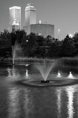 City Buildings Photograph - Tulsa Oklahoma Skyline Above The Treeline- Black And White by Gregory Ballos