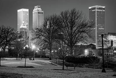 Photograph - Tulsa Oklahoma Skyline And Centennial Park Night Landscape - Black And White by Gregory Ballos