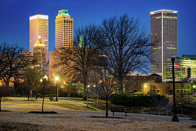 Photograph - Tulsa Oklahoma Skyline And Centennial Park Night Landscape by Gregory Ballos