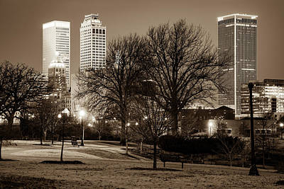 Photograph - Tulsa Oklahoma Skyline And Centennial Park Night Landscape - Sepia Edition by Gregory Ballos