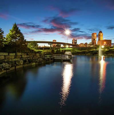 Photograph - Tulsa Oklahoma Skyline Art - Square Format by Gregory Ballos