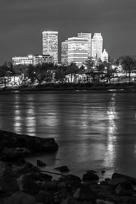 City Art Photograph - Tulsa Oklahoma Skyline Black And White River Reflections by Gregory Ballos