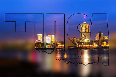 Photograph - Tulsa Oklahoma Skyline Blur Typographic Letters - Riverside View Of Tulsa Oklahoma Skyline by Gregory Ballos