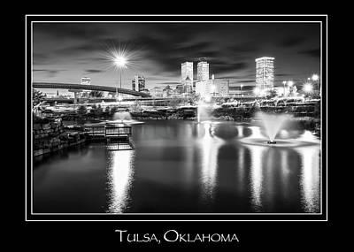 Name In Lights Photograph - Tulsa Oklahoma Skyline City Name Print - Black And White by Gregory Ballos