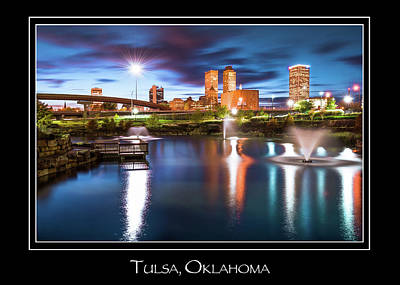 Skylines Photograph - Tulsa Oklahoma Skyline City Name Print - Color by Gregory Ballos