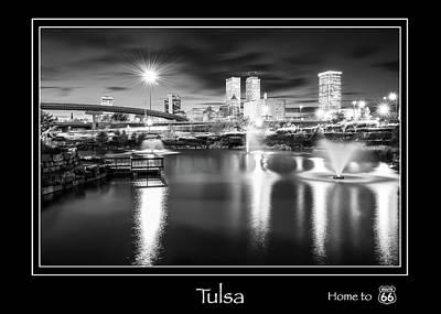 Photograph - Tulsa Oklahoma Skyline City Name Print - Route 66 - Black And White by Gregory Ballos